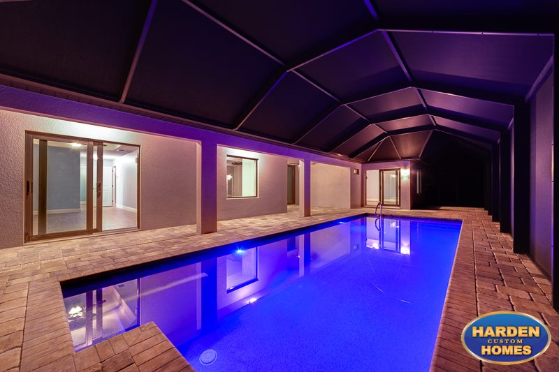 33rd Street Cape Coral Custom Home Builder Pool at Night