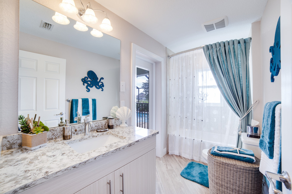 Cape Coral Home Builder Furnished Model Home Guest Bathroom