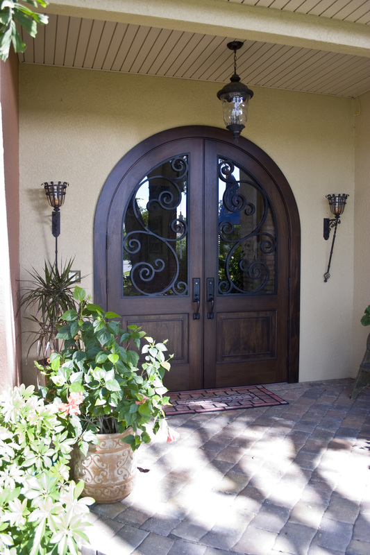 Sheff Home Custom Home Builder Custom Wood and Iron Front Door
